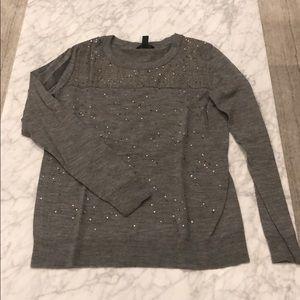 J. Crew Grey Sequin & Houndstooth Sweater